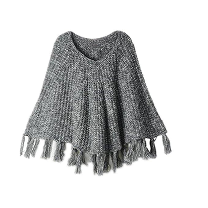 mmbeauty bebé niñas sólido borla de cuello redondo de punto Poncho capa abrigo gris: Amazon.es: Ropa y accesorios