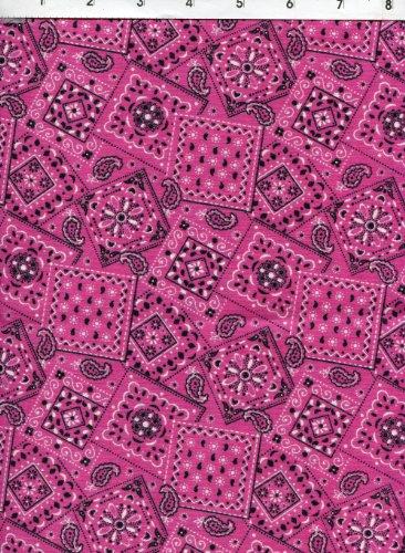 Made Paisley Hot Pink Bandana (Blazing Bandana Paisley Hot Pink Fabric)