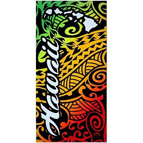 (Hawaiian Tribal Tattoo Design Rainbow Beach Towel)