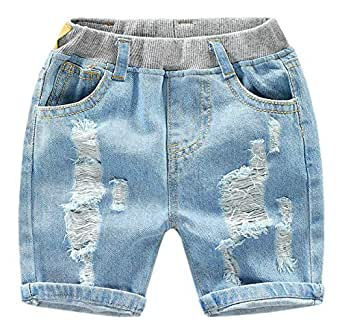 EMAOR Unisex Kids Baby Elastic Waist Ripped Holes Denim Pants Jeans & Shorts 18Months - 8Years - Blue - US 24M