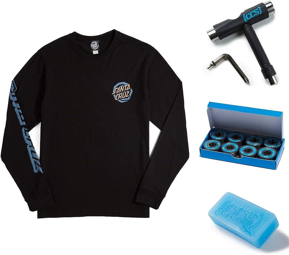 Bearings Santa Cruz Womens Illusion Dot Shirts,Small,Black SM with CCS Skate Tool and Wax