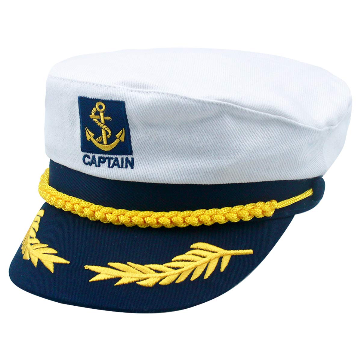 "One Size Sailor Hat White Captains Cap Adjustable(20.47/""-21.25/"") White Costume for Children Perfect for Carnival"