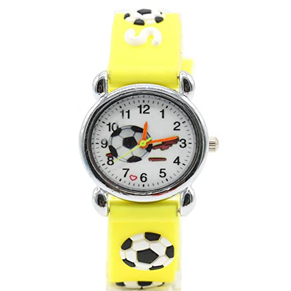 Los niños dibujos animados relojes relojes de cuarzo de silicona de los niños de fútbol para niños de muñeca de moda los relojes de pulsera: Amazon.es: ...