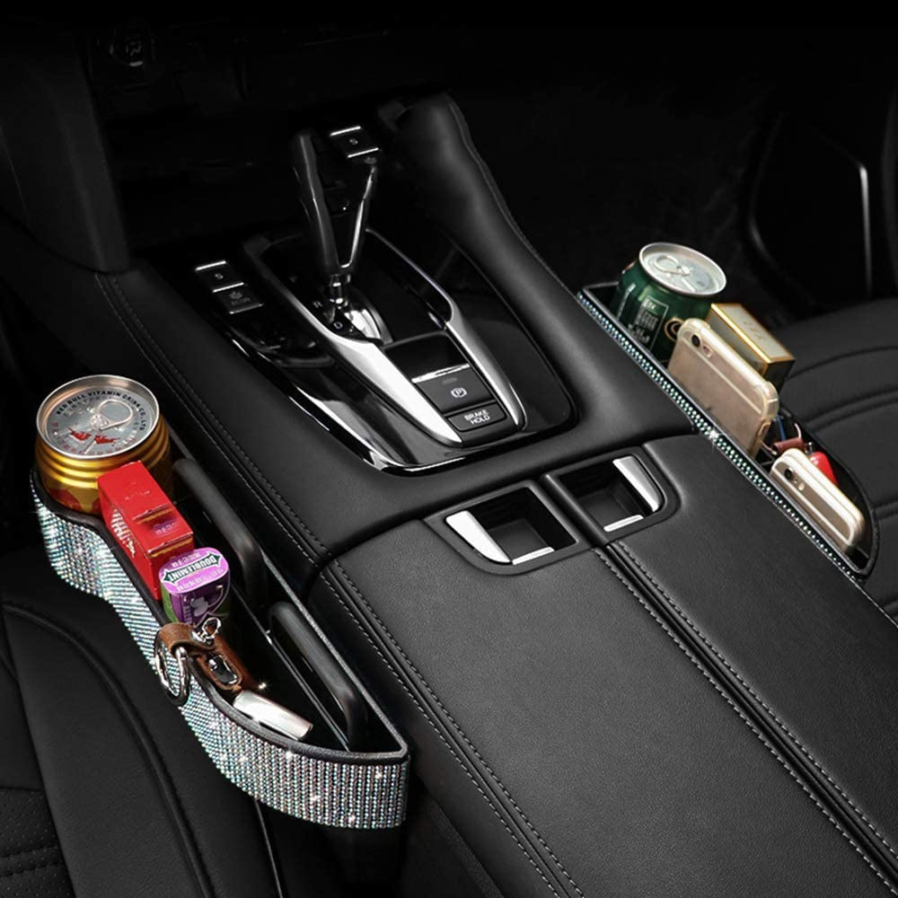 Passenger side Diamond Crystal Car Seat Pockets Organizer Caddy Catcher Auto Filler Gap Bling Bling Car Console Side Pouchs for Cellphone Wallet Coin Key Credit Card Console Side Pocket 1 PC