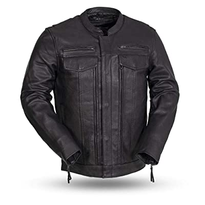 First MFG Co. - Raider - Men's Protective Biker Motorbike Motorcycle Leather Jacket (Black, XX-Large): Automotive