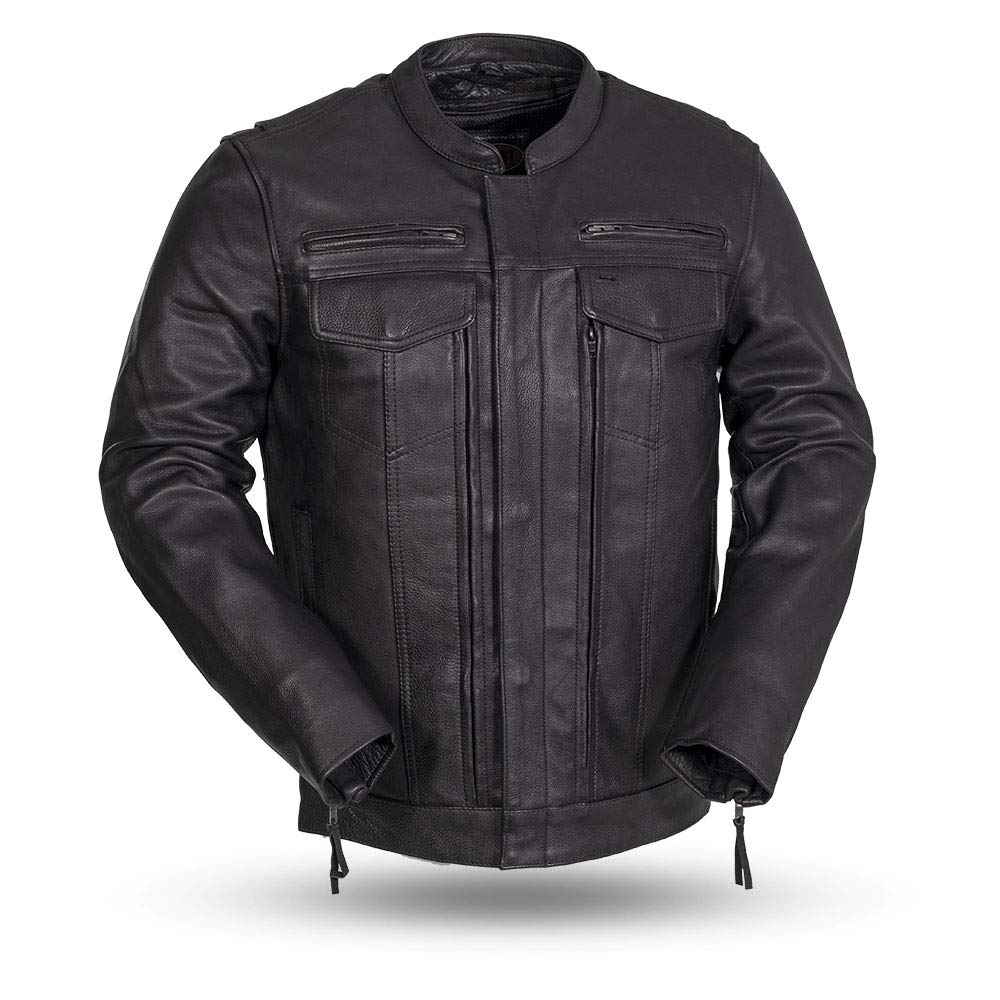 First Mfg Co Men's Leather Motorcycle Jacket (Black, Small)