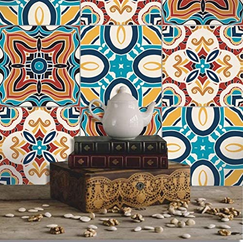 Amazon Com Mediterranean Style 3d Decorative Tiles Diy Home Decoration Wall Sticker For Kitchen Bathroom Floor Tile Waterproof Removable Decals Diy Murals 6 Mediterranean Style Kitchen Dining