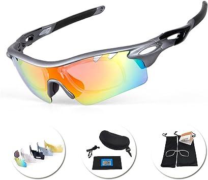 IKuaFly Gafas Ciclismo, Gafas de Sol Polarizadas con 5 Lentes Anti-Fog 400 UV TR90 Marco, Gris: Amazon.es: Deportes y aire libre