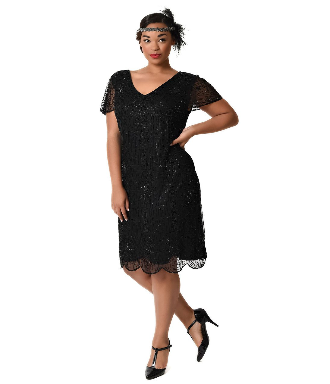 Plus Size 1920s Style Black Beaded Cap Sleeve Edwardian Flapper Dress by Unique Vintage