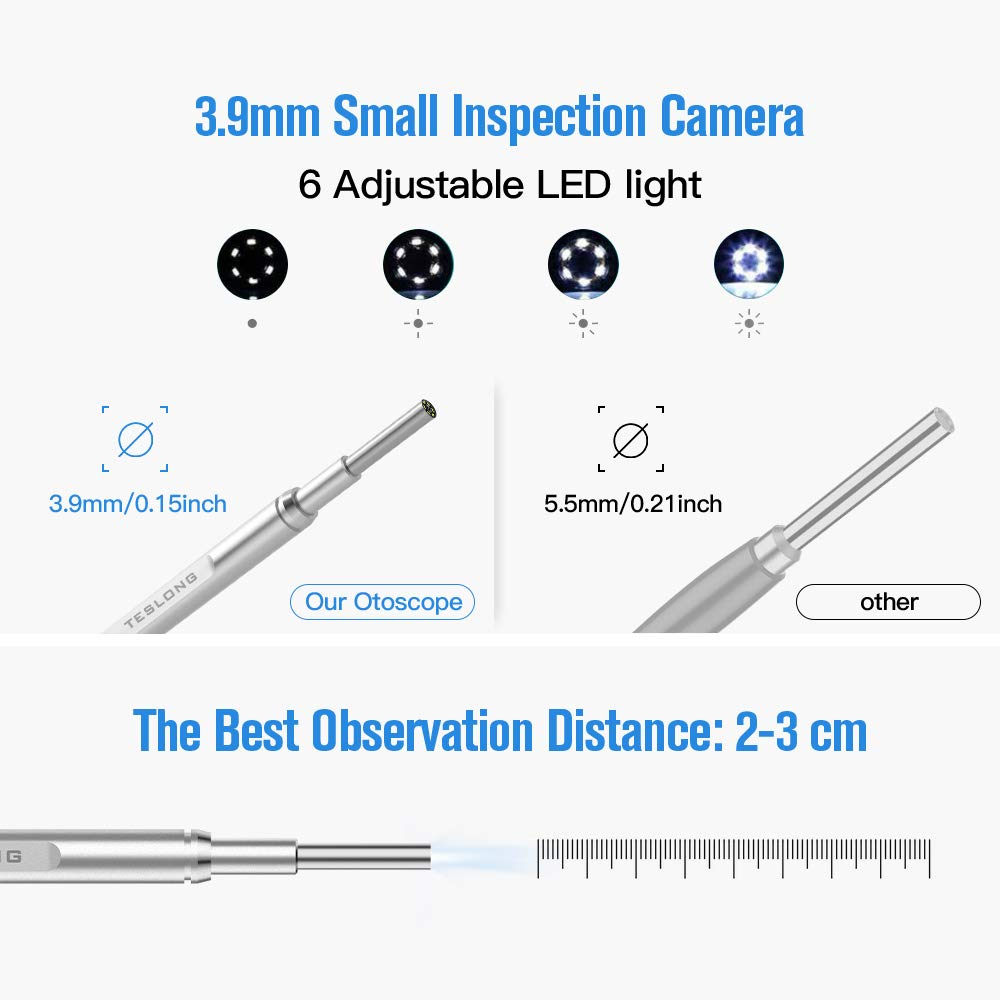 4.5 Inch IPS Screen,3.9mm Inspection Camera with 6 LED Lights,2500mAh Rechargeable Battery,Earwax Removal Tool Teslong Otoscope