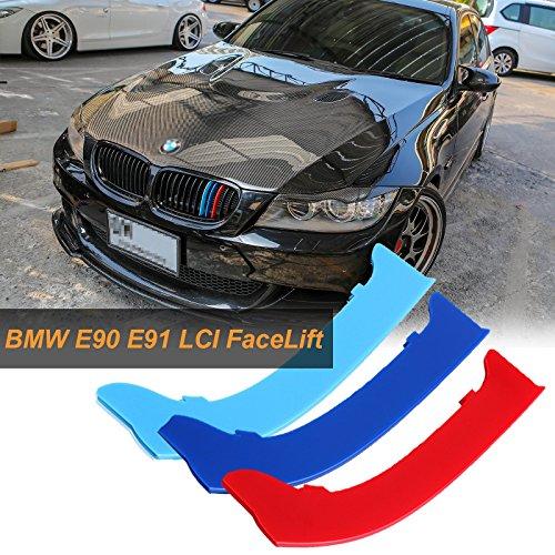 Xotic Tech M-Colored Kidney Grille Insert Trim Sport Strips for BMW E90 E91 3 Series LCI 325i 328i 330i 335i 2009-2012 (12 Beam Bars) ()