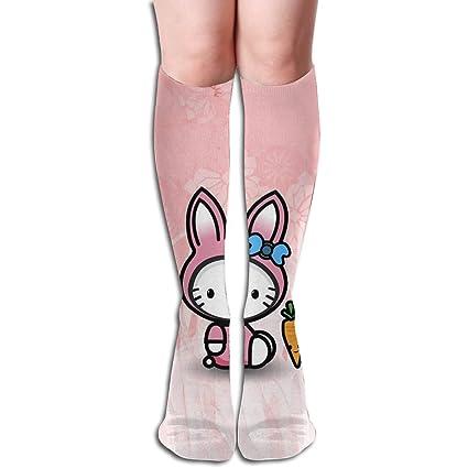 5f38c1dbf Amazon.com: JINUNNU Over-The-Calf Sports Socks Hello Kitty Funny  Compression Socks for Girl Women: Home & Kitchen