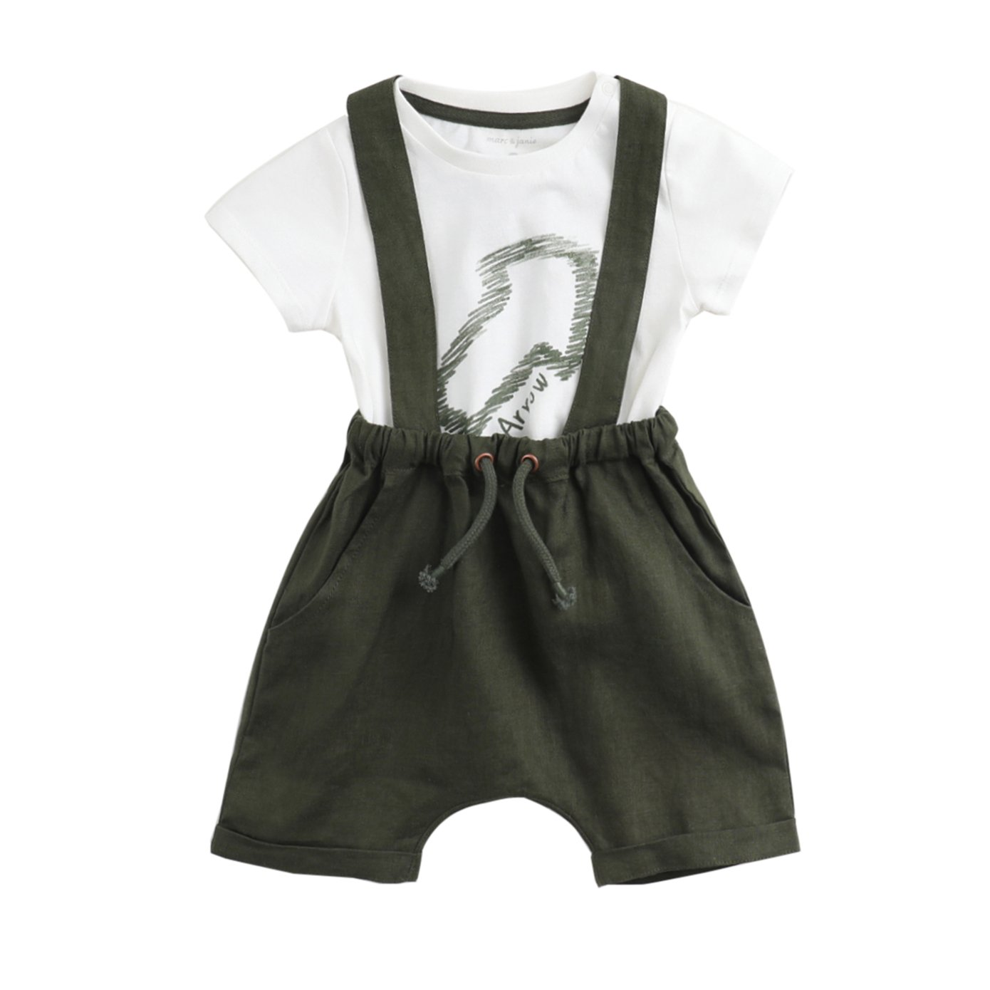 marc janie Summer Boys' Cotton Greenery Short Sleeve T-Shirts and Soft Linen Shorts Overalls Infant Baby Tees Set White 24 Months (80 cm)