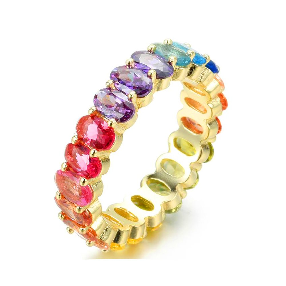 NYC Sterling Women's .925 Silver Oval Shaped Rainbow Cubic Zirconia Eternity Ring (Gold-Plated-Silver, 6)