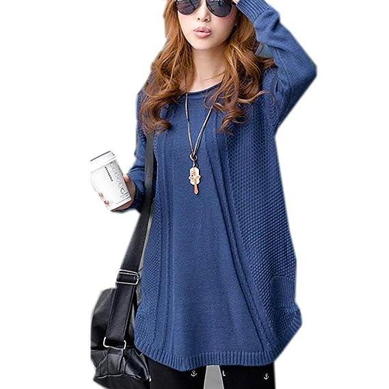 Minetom Mujer Suéter Manga Larga Blusas Suelto Tejer Cárdigan Parte Superior De Gran Tamaño Pullover Azul