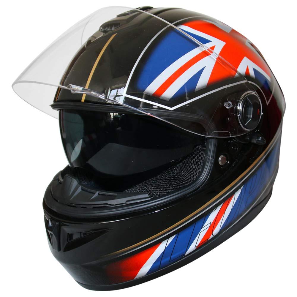 - Motorcycle Road Legal Leopard LEO-828 Double Visor Full Face Motorbike Helmet Matt Black XS 53-54cm