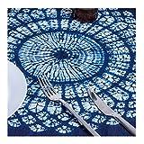 """100% Cotton Tie Dye Floral Vintage Navy Square Tablecloth (Shibori, White Blue, 44"""" by 44"""")"""