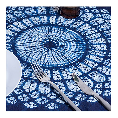 RH Art 100% Cotton Tie Dye Floral Vintage Navy Square Tablecloth (Shibori, White Blue, 44