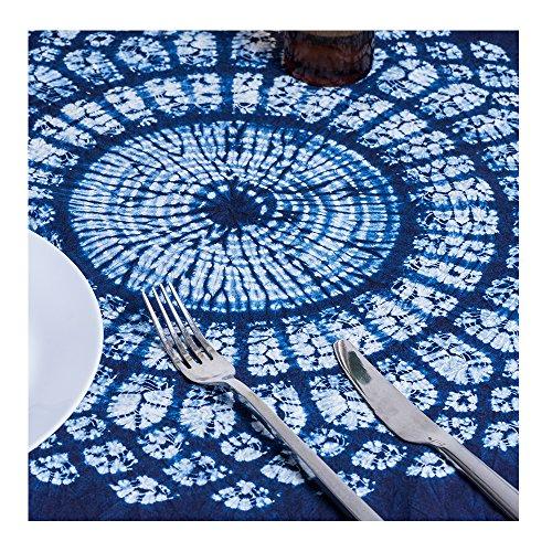 100% Cotton Tie Dye Floral Vintage Navy Square Tablecloth (Shibori, White Blue, 44