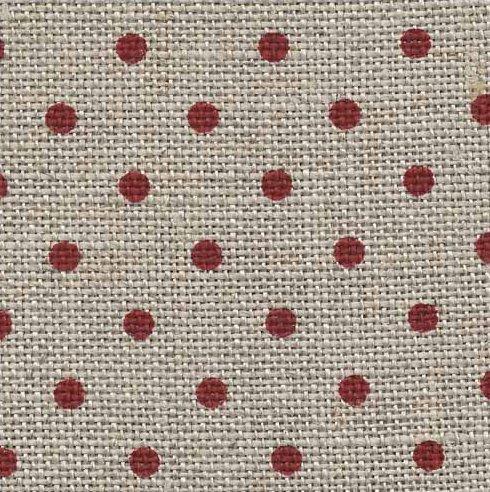 - Zweigart 32ct Petit Point Raw/Red Belfast Linen Fabric -18x27