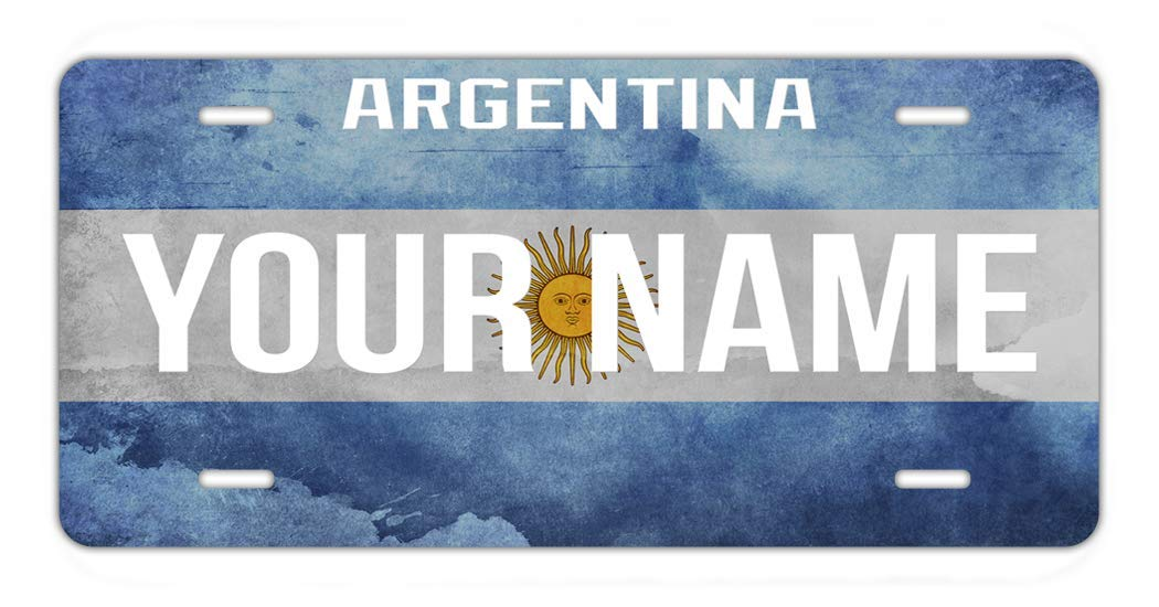 BRGiftShop Personalize Your Own License Argentina Flag Country Plate Car Vehicle 6x12 Tag