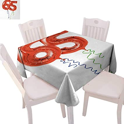 CobeDecor 65th Birthday Dinner Picnic Table Cloth Balloons For Age Sixty Five Joyous Cheerful Party