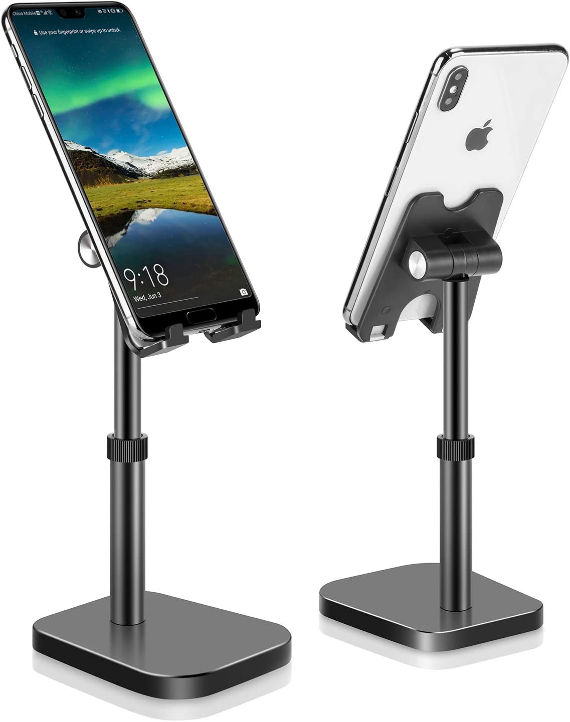 Cell Phone Stand, Phone Stand for Desk Height Adjustable, Tablet Stand Holder Desktop Phone Holder for Desk Compatible with All Mobile Phones,iPad, (Black)