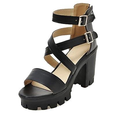 weiwei Damen Sandaletten 18cm Schuhe mit Dicken Transparente ... c82f4c623b
