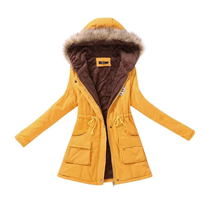 Amazon.com: Studyset Warm Coat Cotton Wadded Jacket Down Jacket Women Long with Hood Fluffy Collar Tight Waist Cotton Jackets Plus Velvet Thickening Warm ...