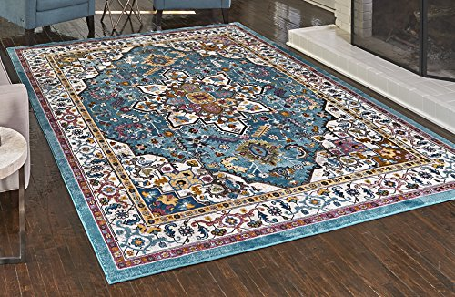 (Gertmenian 21323 Oriental Rug IV Modern Persian Carpet, 8x10 Large, Turquoise Blue Medallion)