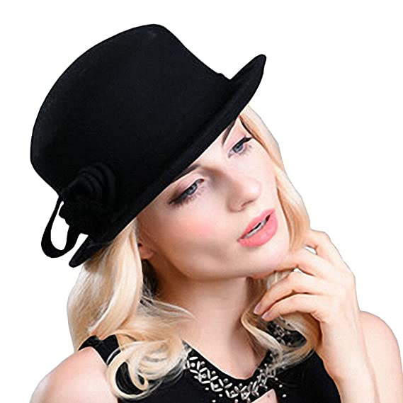 Maitose reg  Women s Wool Felt Flowers Church Bowler Hat Black ... e1648fe04533