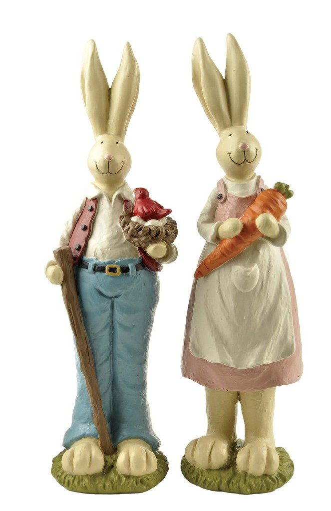 9''H Hand Painted Set of 2 Fathers Day Gifts bunny decor, Easter Decoration Rabbit
