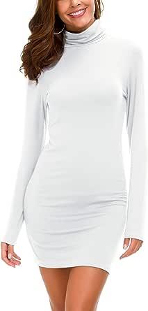 Vestido Ajustado de Manga Larga para Mujer Vestido Elegante de Cuello Alto con Cuello Alto