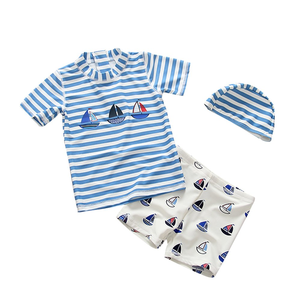 Baby Toddler Boys Two Pieces Rash Guard Swimsuit Kids Sun Protective Bathing Suit With Hat UPF 50+