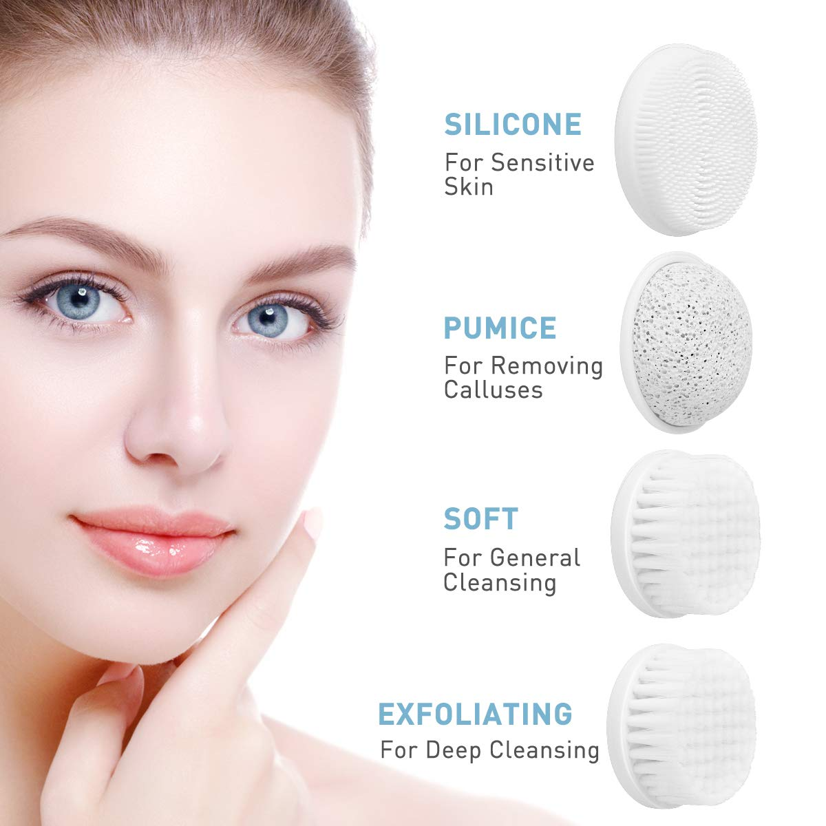 Facial Cleansing Brush, Waterproof Face Body Brush with 4 Brush Heads and a Travel Case - Blue