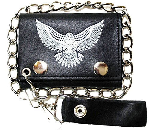 Leather Chain Wallet Tri Fold 15