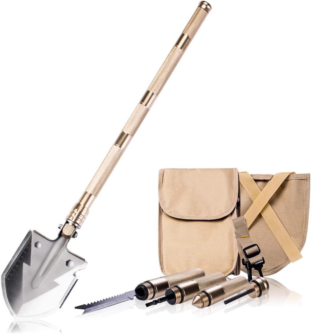 Yansanido 18 inch Folding Shovel Survival Shovel Tri-fold Handle Shovel with Carry Case