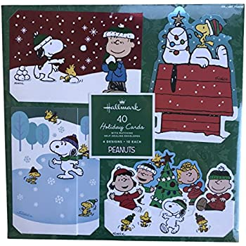 Snoopy charlie brown peanuts gang holiday christmas boxed 40 cards