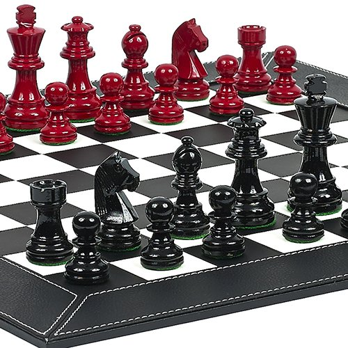 (Contemporary Staunton Chessmen & Financial District Chess Board)