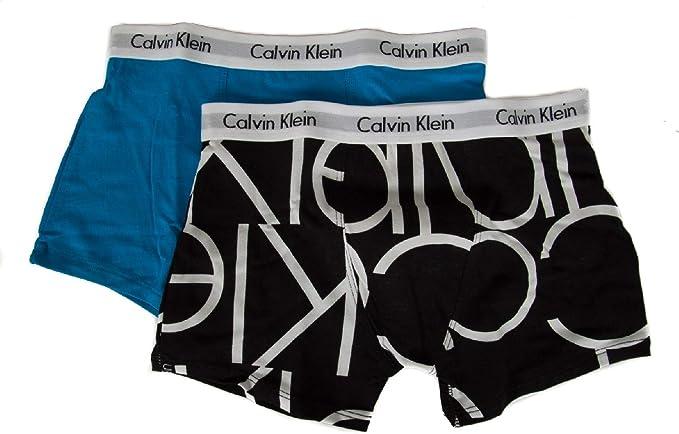 Calvin Klein Pack 2 Boxer niño Chico Junior CK artículo B70B700199 2PK Trunks, 046 Oversized Black LG/Cloisonne, Taglia S - Anni 8-10: Amazon.es: Ropa y accesorios