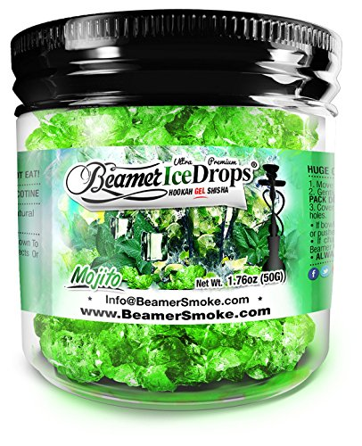 Mojito 50G Ultra Premium Beamer Ice Drops ¨ Hookah Shisha Smoking Gel. Each bowl lasts 2-4 Hours! USA Made, Huge Clouds, Amazing Taste! Better Taste & Clouds than Tobacco! 2-3 bowls per Jar!