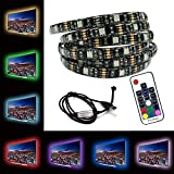 LED USB Strips Bias Backlight RGB Lights(60in / 1.5m) with RF Remote Control for HDTV, Flat Screen TV Accessories and Desktop PC, Multi Color