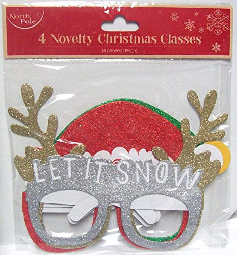 Novelty Glittery Christmas Glasses 4 Pack Selfie Photo Prop Table Decorations North Pole