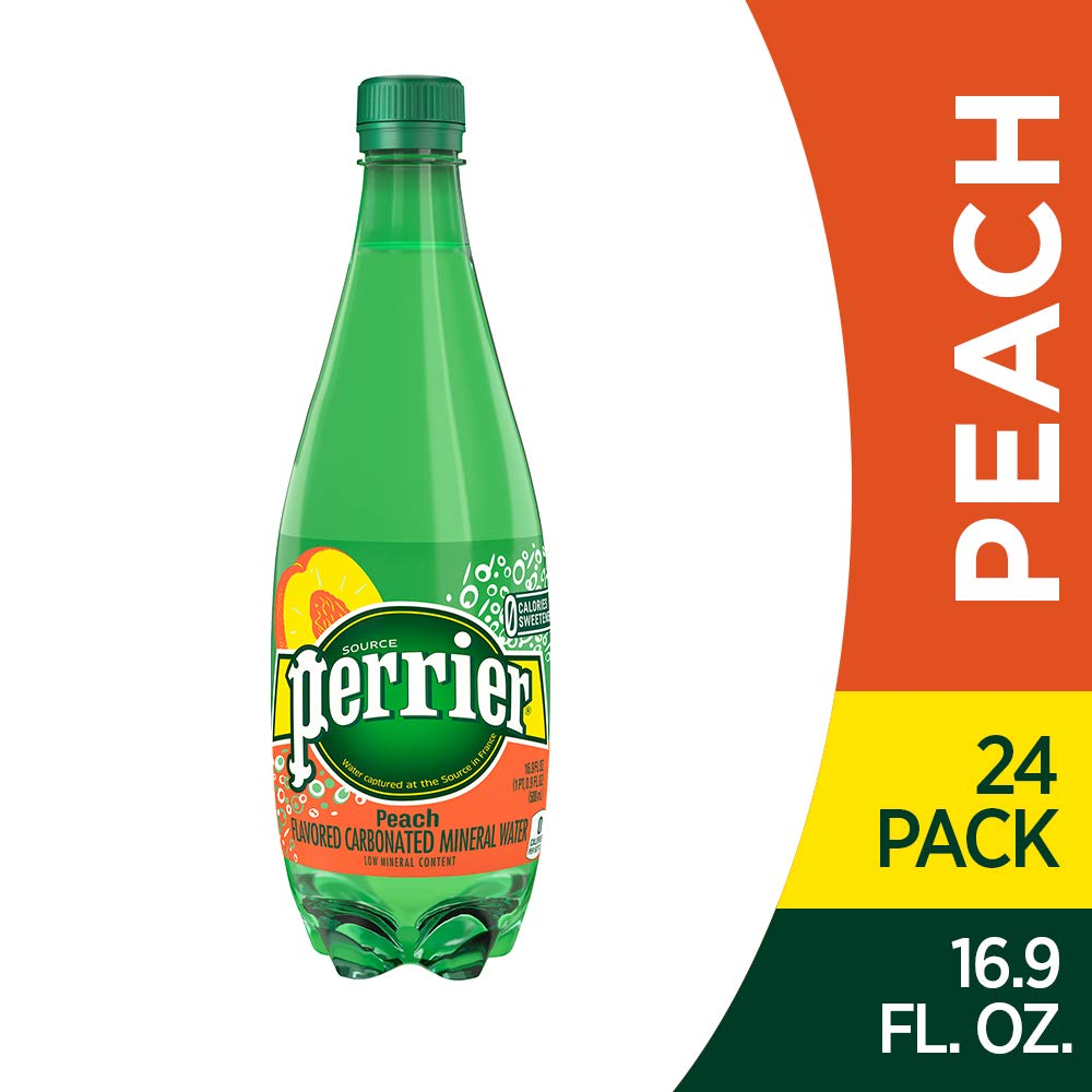 Perrier Peach Flavored Carbonated Mineral Water, 16.9 Fl Oz (24 Pack) Plastic Bottles by Perrier