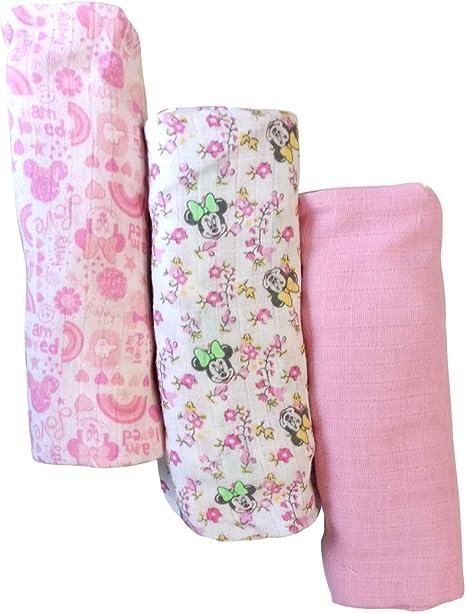 Disney - Juego de 3 cuadrados de gasa muselina de algodón para bebé, Minnie y Mickey, art. 1999 Rosa: Amazon.es: Bebé