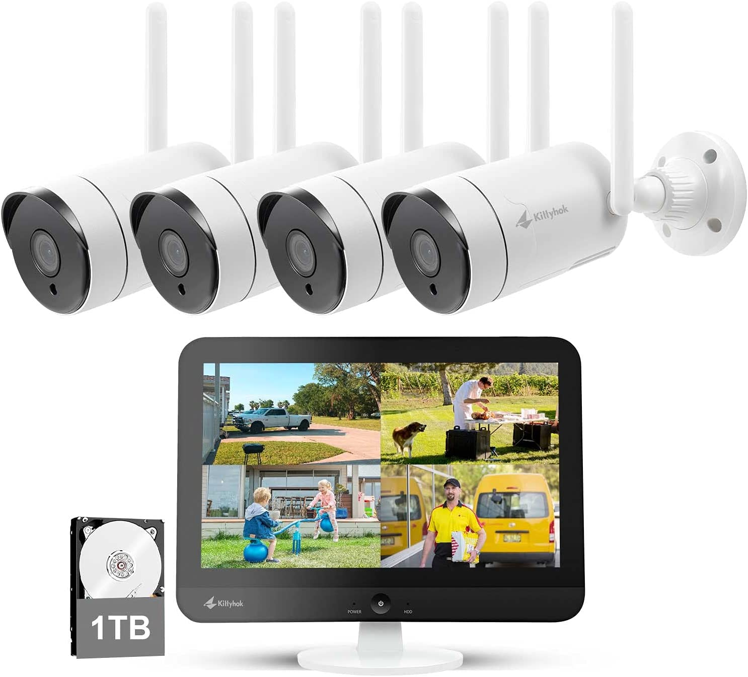 [8CH Expandable] Kittyhok All in One 2K Wireless Security Camera System with 12