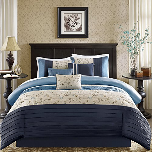 Madison Park Serene Queen Size Bed Comforter Set Bed in A Bag - Navy, Embroidered - 7 Pieces Bedding Sets - Faux Silk Bedroom Comforters (Silk Bedding Quilt)