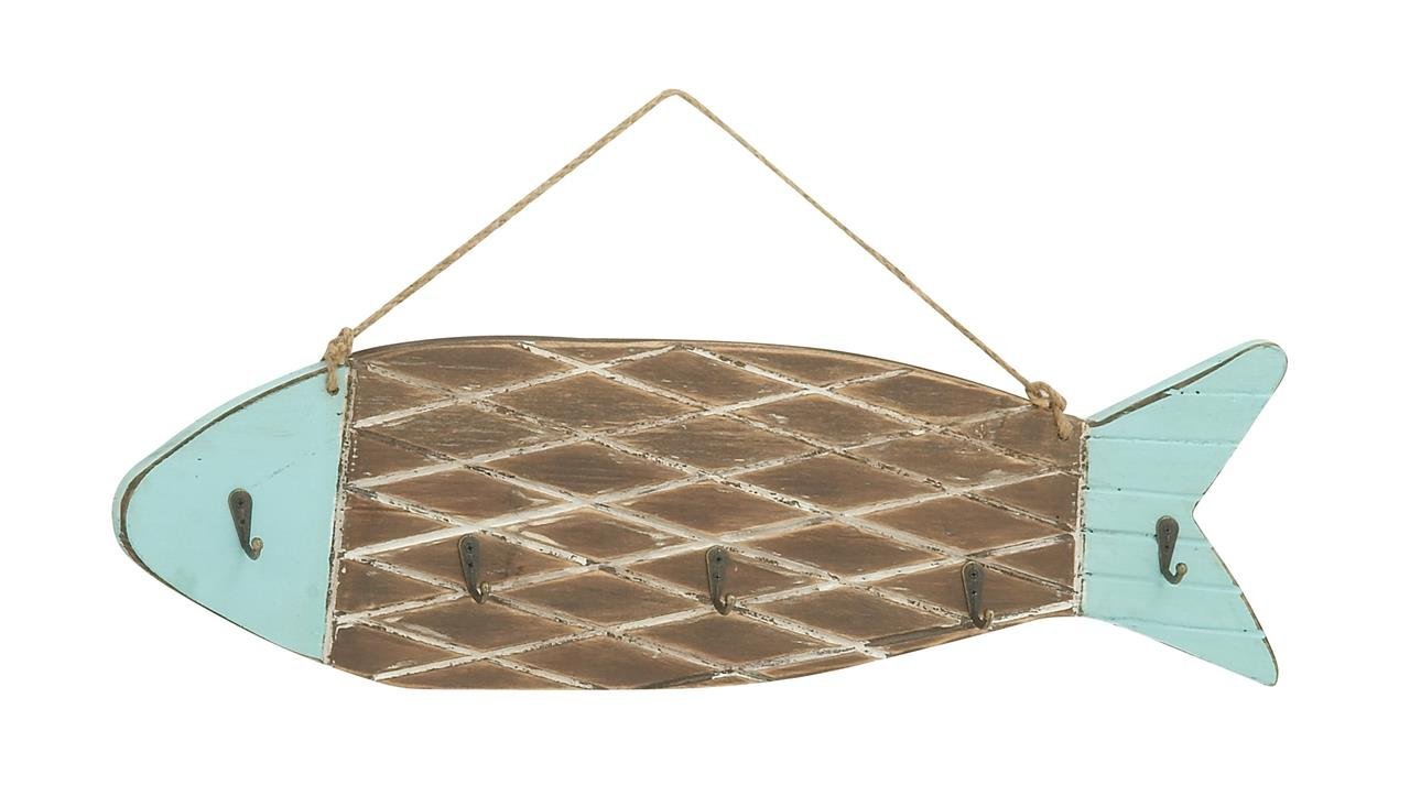 Deco 79 Fish Design Wood Metal Wall Hook, 24'' W x 11'' H by Deco 79 (Image #1)