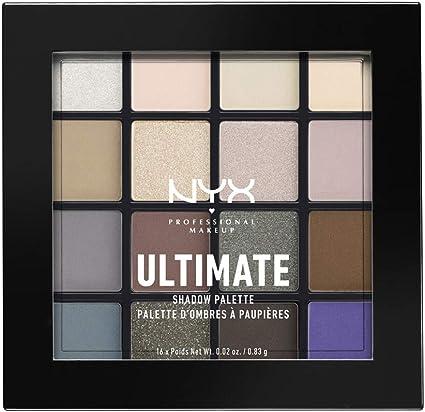 NYX Professional Makeup - Paleta de Sombra de Ojos UltiMate Shadow Palette, Pigmentos Compactos, 16 Sombras, Acabados Mate, Satinados y Metalizados, Tono: Cool Neutrals: Amazon.es: Belleza