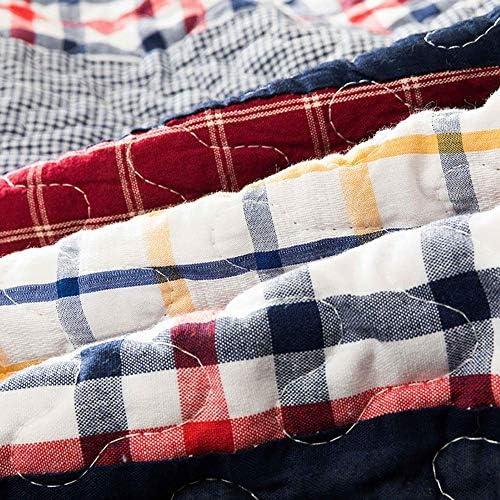 ZXLRH Couvre-lit Literie, 100% Coton Léger Simply Vintage Cottage Literie Quilt Set Simple Treillis Streak Patchwork Couvre-lit, 3 pièces
